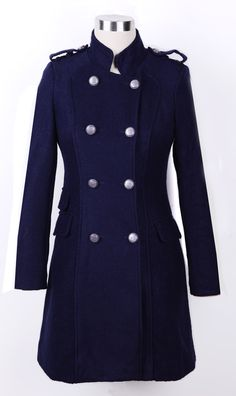 Navy High Collar Double Dreasted and Pockets Winter Coat
