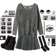 A fashion look from January 2015 featuring oversized tops, grey mini skirt and black knee socks. Browse and shop related looks.