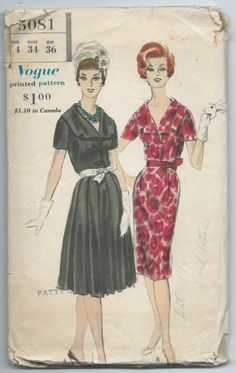 Vintage 1960 One Piece Dress Pattern Vogue 5081 by lavenderskye on Etsy