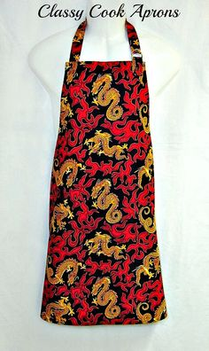 Apron Mans DRAGON FIRE Gold Dragons in Red by ClassyCookAprons