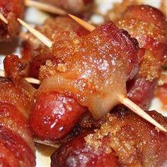 Brown Sugar Smokies Recipe ~  1 pound bacon, (16 ounce) package little smokie sausages,  1 cup brown sugar. Directions- Preheat oven to 350 degrees F (175 degrees C). Cut bacon into thirds and wrap each strip around a little sausage. Place the wrapped sausages on wooden skewers, several to a skewer. Arrange the skewers on a baking sheet and sprinkle them liberally with brown sugar. Bake until bacon is crisp and the brown sugar melted. Great for the Holidays!