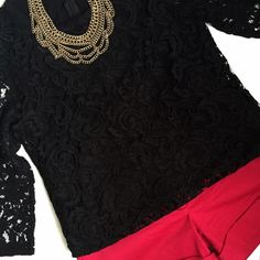 Lace 3/4 Length Shirt Perfect to dress up or down! Hidden zipper in back, inner lining with sheer lace sleeves. BNWT. Forever 21 Tops Tees - Long Sleeve