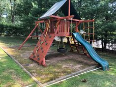 Playset Refurbish (sand, stain/seal, tune-up, safety check) Wood Playground, Relocation Services, All Brands, Seal, Safety, Yard, Check, Security Guard, Patio