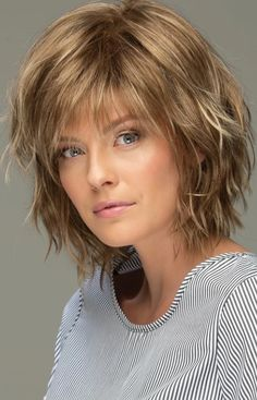 Messy Look Women's Shoulder Length Style Features Choppy Layers Wavy Human Hair Wigs Lace Front Wigs - Hair Styles Short Shag Hairstyles, Wig Hairstyles, Short Shaggy Haircuts, Hairstyle Short, Bridal Hairstyle, Hairstyles 2018, Short Shaggy Bob, Style Hairstyle, Choppy Bob Hairstyles With Bangs
