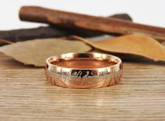 Handmade Rose Gold Filled Dome Custom Your words in Elvish Tengwar, Wedding Bands, Couple Ring, Titanium Anniversary Ring Matching Wedding Bands, Wedding Matches, Wedding Ring Bands, Matching Rings, Coordinate Rings, Personalized Rings, Titanium Rings, Couple Rings, Anniversary Rings