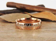 Handmade Rose Gold Filled Dome Custom Your words in Elvish Tengwar, Wedding Bands, Couple Ring, Titanium Anniversary Ring