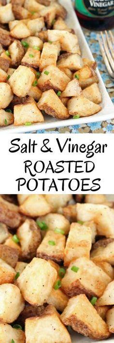 Salt and Vinegar Roasted Potatoes #roastedpotatoes #potatoes #sidedishes #recipes #saltandvinegar