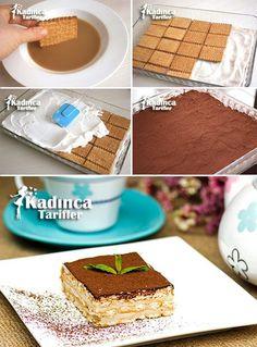 Nescafeli Kremalı Bisküvi Pastası Tarifi