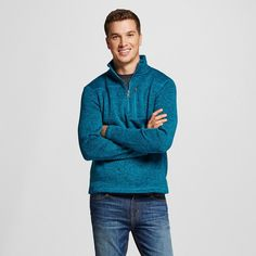 Men's Quarter Zip Sweater Fleece Teal (Blue) Xxl - Merona