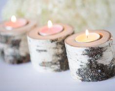 5 birch candle holders, log tea light holder, woodland wedding , rustic wedding decor, home decor, country wedding, christmas decor