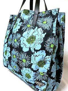 PRADA Mens Tote Floral Nylon x Leather - unique, stylish and practical! Current high bid 16,860 yen.