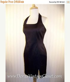 Sale 50% OFF Vintage 90s Black Spandex Cache' Mini Bandage Prom Party Wiggle Dress Sz S
