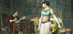 Cleopatra: The Egyptian queen, shown here in a 19th-century engraving, sneaked back from exile and surprised Julius Caesar.