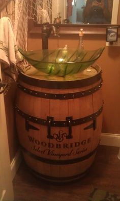 that sink ruined the entire style of the barrel but I want this for my outdoor kitchen I will have when i'm older Whiskey Barrel Sink, Barrel Bar, Bourbon Barrel, Barrel Table, Barris, Primitive Bathrooms, Rustic Bathrooms, Concrete Sink, Wine Cellar
