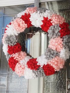 Felt flower Valentine's Wreath