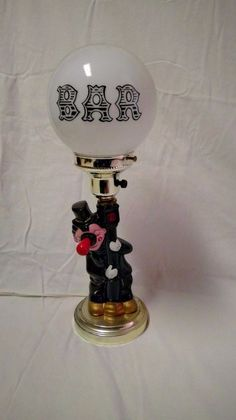 1984 Albert E Price Products Clown Lamp With White Bar Globe Table Light