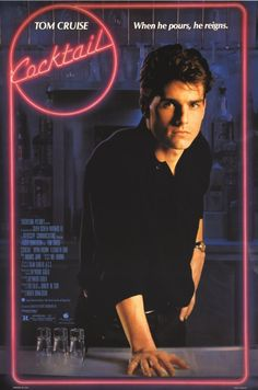 Cocktail (1988) Genre: Romance, Drama. It's one of those movies that have not been considered good cinema, but I watched them a few times anyway! Tom Cruise is such eye candy. Bryan Brown and he are fun to watch. Good soundtrack too.