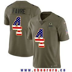 Men's Green Bay Packers #4 Brett Favre Olive with USA Flag 2017 Salute To Service Stitched NFL Nike Limited Jersey