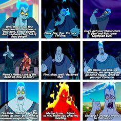 Hades is my third favorite Disney villian. It goes Scar, Ursala, then Hades. Funny Disney Memes, Disney Jokes, Disney Cartoons, Disney Villains Funny, Disney Villian, Hades Disney, Disney Hercules, Disney And More, Disney Fun