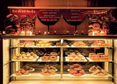 Marcy Blum Associates built a bakery-style display case to offer guests breakfast-to-go treats from New York bakeries at the end of a wedding reception.
