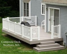 grey house with deck | Grey TimberTech deck in Westboro, MA - Composite and Vinyl (PVC) Photo ...
