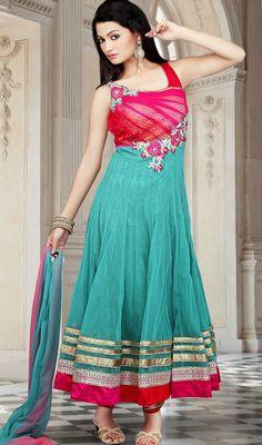 Plus Size Green Flowy Paneled Net Churidar Dress Price: Usa Dollar $234, British UK Pound £137, Euro171, Canada CA$250 , Indian Rs12636.