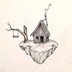 A floater to start the week ~ New set of prints up on Etsy and sticker packs coming today! Link is in my bio :) . . . #wanderer #art #artist #ink #inklife #inkdrawing #illustration #pointilism #design #drawing #landscapedrawing #sketchbook #sketch #handdrawn #penandink #micronpen #fineliner #micron #blackwork #imaginaryworld