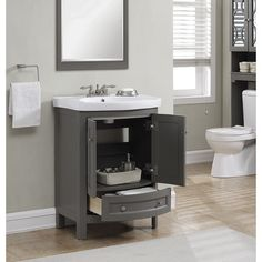 Features:  -Wide all wood modern gray vanity with vitreous china top, 2 slow close arch doors and 1 slow close arch drawer.  -Vanity includes nicely finished white vitreous china top and basin for a c