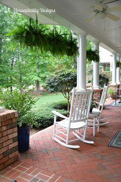 Veranda - love the brick and hanging ferns