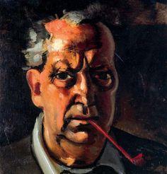 'selbstporträt mit a rohr', 1953 von André Derain (1880-1954, France)