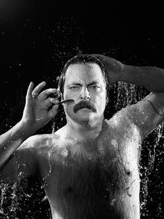 Just a simple man, taking a shower.