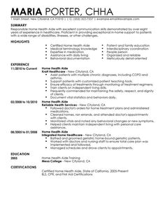Home Health Aide Sample Resume Extraordinary Pinaudrina Babs On Resume Examples  Pinterest  Resume Examples