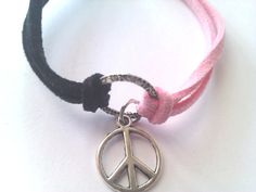 Baby Pink and Black Suede Peace Bracelet by MysticMoonShadow, £6.00