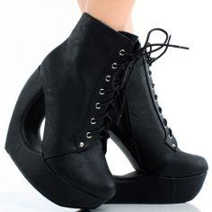 Black Lace Up Avant Garde High Heel Cut Out Wedge Platform Ankle Boots 6.5 #Handmade #PlatformsWedges