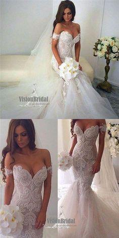 Newest Mermaid Off -Shoulder Lace Tulle White Elegant Lace Wedding Dresses, Charming Wedding Dress, VB0692 #weddingdress #weddings #laceweddingdresses