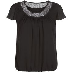 Precis Petite Lace Trim Blouse , Black (€66) found on Polyvore featuring tops, blouses, black, petite, lace trim top, black short sleeve top, shirred top, ruched blouse and black blouse