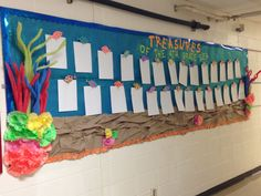 Ocean/reef themed work bulletin board with fish, pool noodle coral and coffee filter coral Classroom Walls, Classroom Displays, Classroom Themes, Classroom Organization, Fish Bulletin Boards, Preschool Bulletin Boards, Preschool Classroom, Kindergarten, Toddler Art