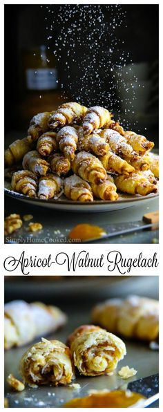 - This is perhaps the easiest rugelach recipe you've ever seen! These apricot wal… This is perhaps the easiest rugelach recipe you've ever seen! These apricot walnut rugelach cookies are filled with apricot jam and chopped walnuts. Apricot Cookies Recipe, Apricot Recipes, Sweet Recipes, Rugalach Recipe, Rugelach Cookies, Jam Cookies, Jewish Cookies, Cookie Recipes, Cookies