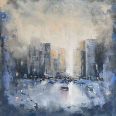 """""""'City Abstract'"""" by Dan Wellington. Oil painting on Canvas, Subject: Landscapes, sea and sky, Impressionistic style, One of a kind artwork, Signed on the back, This artwork is sold framed, Size: 56 x 56 x 2 cm (framed), 22.05 x 22.05 x 0.79 in (framed), Materials: oil on canvas"""
