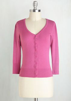Charter School Cardigan in Magenta - Pink, Solid, 3/4 Sleeve, Good, Knit, Short, Pink, 3/4 Sleeve, Valentine's, Spring, Wedding, 60s, Fruits, Best Seller, Work, Casual, Daytime Party, As You Wish Sale, Gals, Top Rated