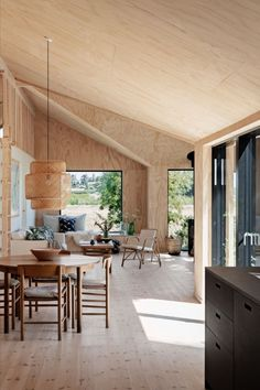 Designed by Børge Mogensen in is a versatile masterpiece crafted from solid wood, featuring a hand-woven seat in natural paper cord. Photo via andshufl Home Interior Design, Interior Architecture, Interior Decorating, Plywood House, Retreat House, A Frame Cabin, Little Houses, Interior Lighting, Home Living Room