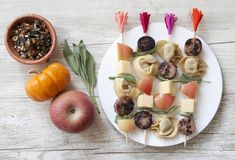 cute tortellini, sausage, cheese + apple kabobs - would be great to do for lunches