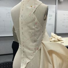 DJ7-Back view of the Vionnet dress. When pinning the pieces together, it is crucial to note where seam lines connect, and mark as a notch.