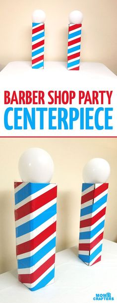 Make this barber shop pole centerpiece for you haircut party! This cool barber shop party decor idea is easy to make mess-free and uses recycled materials and is a great easy upcycled cardboard box craft idea! 18 Birthday Party Decorations, 18th Birthday Party, Party Centerpieces, Birthday Ideas, Birthday Celebrations, Birthday Wishes, Upcycled Crafts, Diy And Crafts, Barber Shop Decor