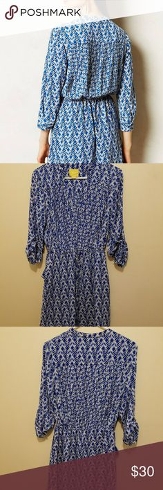 """Anthropologie Maeve Women's Blue Galen Dress Size small,  perfect condition  Spring calls for something as cheery and lighthearted as the season - a dress that doesn't take itself too seriously for a pair of shades. We're pairing this pintucked frock from Maeve with sunny espadrilles and a three-day weekend.  By Maeve Tie waist Side pockets Pullover styling Polyester Machine wash Regular falls 35.5"""" from shoulder Anthropologie Dresses Long Sleeve"""