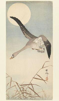 346px-Brooklyn_Museum_-_Goose_Flying_in_Moonlight_-_Ohara_Koson_(Shoson)