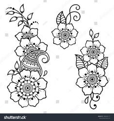 Set of Mehndi flower pattern for Henna drawing and tattoo. Decoration in ethnic oriental, Indian style. Henna Hand Designs, Mehandi Designs, Latest Arabic Mehndi Designs, Beginner Henna Designs, Beautiful Henna Designs, Henna Tattoo Designs, Henna Flower Designs, Henna Tattoos, Henna Tattoo Muster