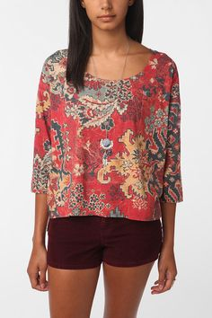 UO Ecote Quilt Print High/Low Tee $44