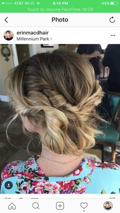 Soft wedding updo on short hair by Erin Macdonald Chicago IL
