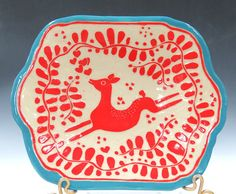 Knock-Out RED & TURQUOISE Leaping DEER Pottery Tray / Platter / Dish - Handmade Pottery Sgraffito Carved - Customize Colors